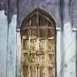 the old door, 22 x 28 inch, soyli saha,22x28inch,thick paper,paintings,photorealism paintings,paintings for dining room,paintings for living room,paintings for bedroom,paintings for office,paintings for bathroom,paintings for kids room,paintings for hotel,paintings for kitchen,paintings for school,paintings for hospital,watercolor,GAL0606547020