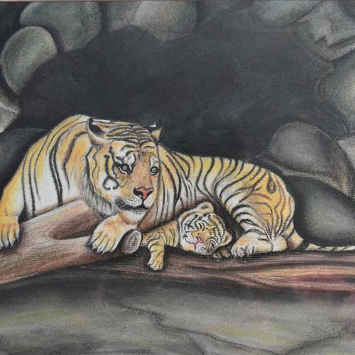 motherhood, 12 x 10 inch, meenal kankariya,wildlife paintings,paintings for living room,ivory sheet,pastel color,12x10inch,GAL016494704