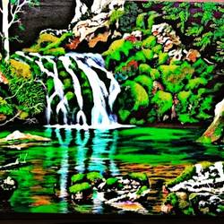water fall , 23 x 22 inch, shiuli majumder,23x22inch,canvas,paintings,wildlife paintings,landscape paintings,realistic paintings,paintings for dining room,paintings for living room,paintings for bedroom,paintings for bathroom,paintings for kids room,paintings for hotel,paintings for kitchen,paintings for school,paintings for hospital,acrylic color,GAL01355247045