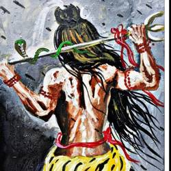 trishuldhari, 12 x 15 inch, shiuli majumder,12x15inch,canvas,paintings,lord shiva paintings,paintings for dining room,paintings for living room,paintings for bedroom,paintings for office,paintings for kids room,paintings for hotel,paintings for school,acrylic color,GAL01355247050