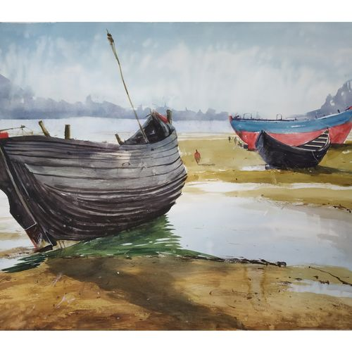 boat, 28 x 22 inch, soyli saha,28x22inch,thick paper,paintings,photorealism paintings,realism paintings,paintings for dining room,paintings for living room,paintings for bedroom,paintings for office,paintings for bathroom,paintings for kids room,paintings for hotel,paintings for kitchen,paintings for school,paintings for hospital,watercolor,GAL0606547059