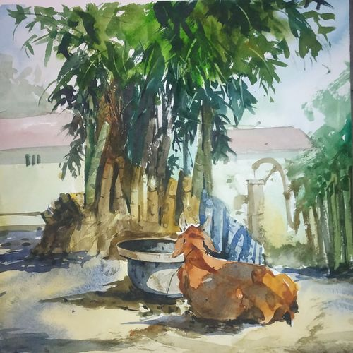 village, 11 x 13 inch, soyli saha,11x13inch,thick paper,paintings,nature paintings | scenery paintings,animal paintings,paintings for dining room,paintings for living room,paintings for bedroom,paintings for office,paintings for bathroom,paintings for kids room,paintings for hotel,paintings for kitchen,paintings for school,paintings for hospital,watercolor,GAL0606547065