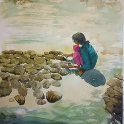 girl, 11 x 13 inch, soyli saha,11x13inch,thick paper,paintings,nature paintings | scenery paintings,realism paintings,paintings for dining room,paintings for living room,paintings for bedroom,paintings for office,paintings for bathroom,paintings for kids room,paintings for hotel,paintings for kitchen,paintings for school,paintings for hospital,watercolor,GAL0606547068