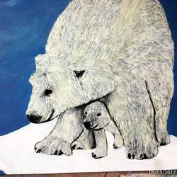 polar bear, 17 x 16 inch, divya s,animal paintings,paintings for living room,cartridge paper,oil,17x16inch,GAL016434707