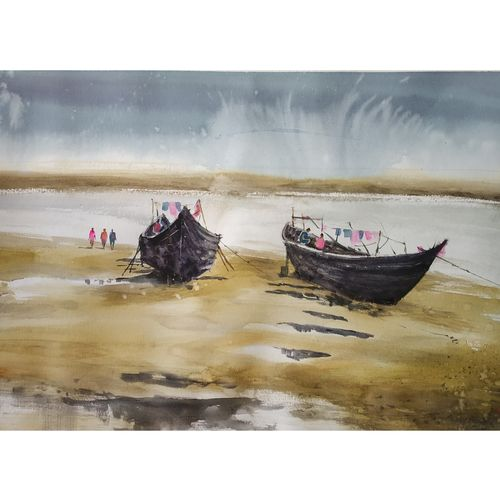boat, 22 x 13 inch, soyli saha,22x13inch,thick paper,paintings,nature paintings   scenery paintings,paintings for dining room,paintings for living room,paintings for bedroom,paintings for office,paintings for bathroom,paintings for kids room,paintings for hotel,paintings for kitchen,paintings for school,paintings for hospital,watercolor,GAL0606547074