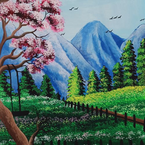 the beauty of nature, 35 x 28 inch, subhasish  dey,35x28inch,drawing paper,paintings,nature paintings | scenery paintings,acrylic color,GAL02252347077