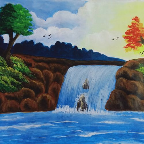 the waterfall, 35 x 28 inch, subhasish  dey,35x28inch,drawing paper,paintings,nature paintings   scenery paintings,paintings for dining room,paintings for living room,paintings for bedroom,paintings for office,paintings for bathroom,paintings for kids room,paintings for hotel,paintings for kitchen,paintings for school,paintings for hospital,acrylic color,GAL02252347083