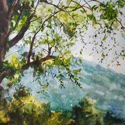 tree, 22 x 13 inch, soyli saha,22x13inch,thick paper,paintings,landscape paintings,nature paintings   scenery paintings,photorealism paintings,paintings for dining room,paintings for living room,paintings for bedroom,paintings for office,paintings for bathroom,paintings for kids room,paintings for hotel,paintings for kitchen,paintings for school,paintings for hospital,watercolor,GAL0606547086