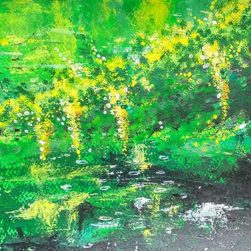 lake side branches, 15 x 8 inch, anirban  kar,paintings for living room,landscape paintings,brustro watercolor paper,acrylic color,15x8inch,GAL015604709