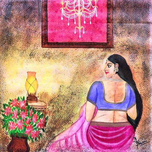 indian lady in lamplight, 23 x 28 inch, bhuvana j,23x28inch,canvas,paintings,figurative paintings,portrait paintings,art deco paintings,contemporary paintings,paintings for dining room,paintings for living room,paintings for bedroom,paintings for office,paintings for bathroom,paintings for hotel,paintings for kitchen,paintings for hospital,acrylic color,GAL02616447096