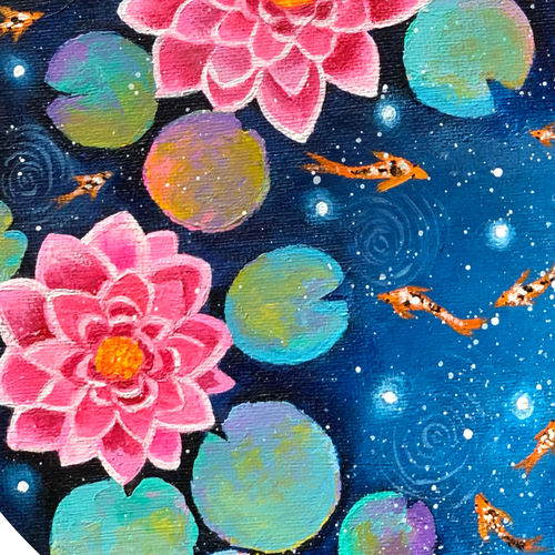 galaxy water lilies, 8 x 8 inch, amita dand,8x8inch,canvas,paintings,flower paintings,landscape paintings,paintings for dining room,paintings for living room,paintings for bedroom,paintings for office,paintings for hotel,paintings for hospital,acrylic color,GAL0146747100