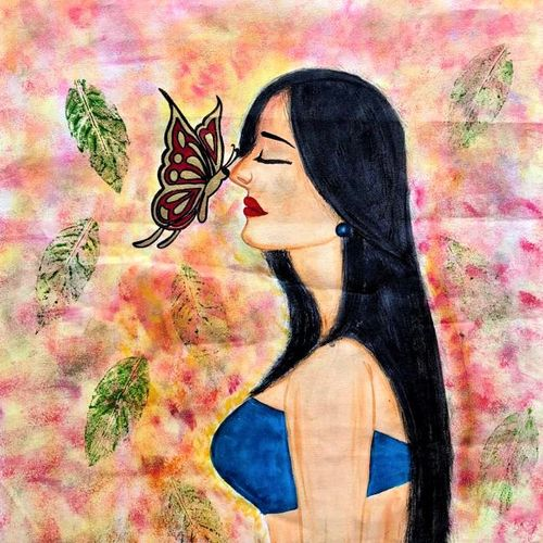lady with golden butterfly, 23 x 38 inch, bhuvana j,23x38inch,canvas,paintings,abstract paintings,figurative paintings,portrait paintings,nature paintings | scenery paintings,art deco paintings,contemporary paintings,paintings for dining room,paintings for living room,paintings for bedroom,paintings for office,paintings for bathroom,paintings for kids room,paintings for hotel,paintings for kitchen,paintings for school,paintings for hospital,acrylic color,GAL02616447102
