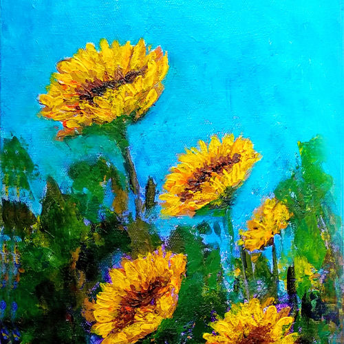 sunflowers, 8 x 16 inch, asha shenoy,8x16inch,canvas,paintings,flower paintings,paintings for dining room,paintings for living room,paintings for bedroom,paintings for office,paintings for kids room,paintings for hotel,paintings for school,paintings for hospital,acrylic color,GAL0865247107