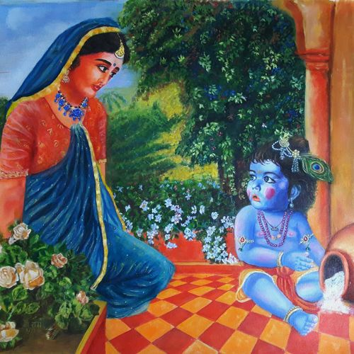 baby krishna, 35 x 30 inch, ashutosh  mishra,religious paintings,paintings for living room,radha krishna paintings,baby paintings,canvas,oil,35x30inch,GAL05884711,krishna,love,lordkrishna,babykrishna