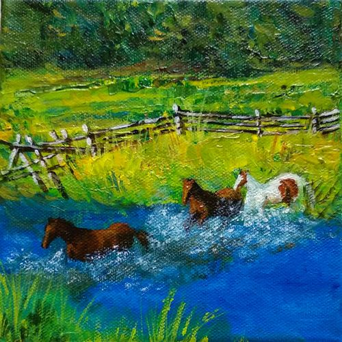 ranch with horses, 6 x 6 inch, asha shenoy,6x6inch,canvas,paintings,animal paintings,paintings for dining room,paintings for living room,paintings for bedroom,paintings for office,paintings for hotel,paintings for school,paintings for hospital,acrylic color,GAL0865247112