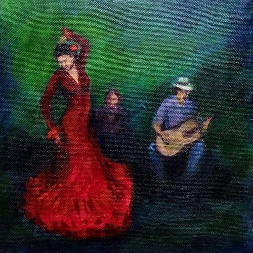 flamenco dancer , 8 x 8 inch, asha shenoy,8x8inch,canvas,paintings,figurative paintings,impressionist paintings,realism paintings,paintings for dining room,paintings for living room,paintings for office,paintings for kids room,paintings for hotel,paintings for school,paintings for hospital,acrylic color,GAL0865247113