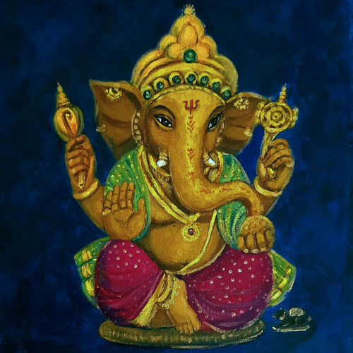 lord ganesha in green silk, 10 x 12 inch, asha s,10x12inch,canvas board,paintings,figurative paintings,religious paintings,realism paintings,ganesha paintings   lord ganesh paintings,realistic paintings,paintings for living room,paintings for office,paintings for hotel,paintings for school,paintings for hospital,acrylic color,GAL0865247115