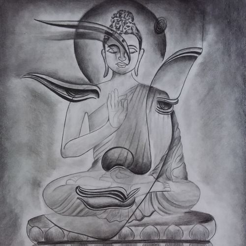 buddha - peace within, 12 x 17 inch, khushi shah,12x17inch,drawing paper,paintings for dining room,paintings for living room,paintings for office,paintings for kids room,paintings for hotel,paintings for kitchen,paintings for school,paintings for hospital,buddha drawings,paintings for dining room,paintings for living room,paintings for office,paintings for kids room,paintings for hotel,paintings for kitchen,paintings for school,paintings for hospital,graphite pencil,GAL03308347117