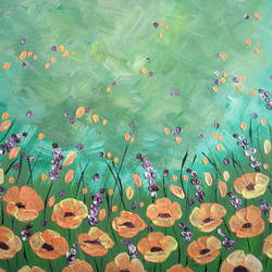 orange poppies, 18 x 14 inch, esther sandhya a,contemporary paintings,paintings for bedroom,canvas,acrylic color,18x14inch,GAL016634712