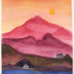 tangy sky, 9 x 12 inch, bijal panchmatia,9x12inch,fabriano sheet,landscape paintings,nature paintings | scenery paintings,paintings for dining room,paintings for living room,paintings for bedroom,paintings for kids room,paintings for dining room,paintings for living room,paintings for bedroom,paintings for kids room,watercolor,GAL01961147121