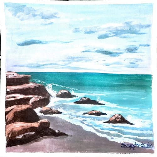 sea shore daylight view, 11 x 15 inch, surendra sinha,11x15inch,thick paper,paintings,nature paintings | scenery paintings,realism paintings,realistic paintings,water fountain paintings,paintings for dining room,paintings for living room,paintings for bedroom,paintings for office,paintings for hotel,watercolor,paper,GAL03257947127