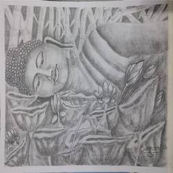 buddha pencil sketch, 15 x 11 inch, surendra sinha,15x11inch,thick paper,paintings for dining room,paintings for living room,paintings for bedroom,paintings for office,paintings for school,fine art drawings,buddha drawings,paintings for dining room,paintings for living room,paintings for bedroom,paintings for office,paintings for school,pencil color,paper,GAL03257947129