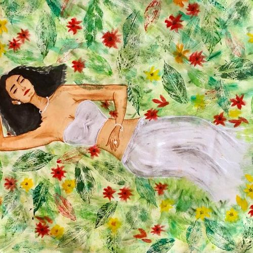 sleeping beauty, 42 x 23 inch, bhuvana j,42x23inch,canvas,paintings,abstract paintings,figurative paintings,flower paintings,landscape paintings,portrait paintings,nature paintings   scenery paintings,paintings for dining room,paintings for living room,paintings for bedroom,paintings for office,paintings for bathroom,paintings for kids room,paintings for hotel,paintings for kitchen,paintings for school,paintings for hospital,acrylic color,oil color,GAL02616447133
