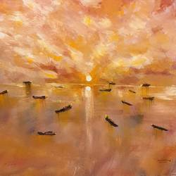 warm sunset of a sea, 14 x 12 inch, rutwij vaidya,14x12inch,canvas,paintings,abstract paintings,landscape paintings,modern art paintings,nature paintings | scenery paintings,surrealism paintings,contemporary paintings,paintings for dining room,paintings for living room,paintings for bedroom,paintings for office,paintings for bathroom,paintings for kids room,paintings for hotel,paintings for kitchen,paintings for school,paintings for hospital,acrylic color,pastel color,GAL03403347139