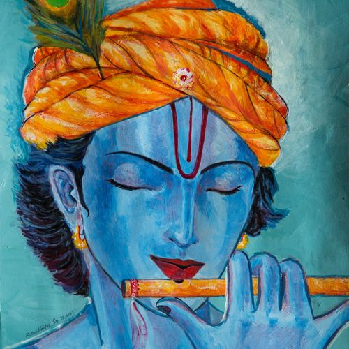krishna playing flute, 11 x 14 inch, rutwij vaidya,11x14inch,thick paper,paintings,abstract paintings,modern art paintings,religious paintings,portrait paintings,portraiture,radha krishna paintings,contemporary paintings,love paintings,paintings for dining room,paintings for living room,paintings for bedroom,paintings for office,paintings for kids room,paintings for hotel,paintings for school,paintings for hospital,acrylic color,pastel color,GAL03403347146