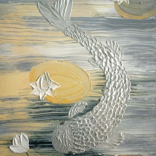 koi fish, 12 x 16 inch, esther sandhya a,contemporary paintings,paintings for living room,paintings,canvas,acrylic color,12x16inch,GAL016634715