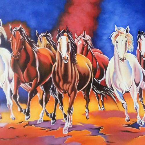 7 running horses, 36 x 24 inch, artoholic p,36x24inch,canvas,paintings,wildlife paintings,landscape paintings,conceptual paintings,portrait paintings,art deco paintings,cubism paintings,dada paintings,expressionism paintings,illustration paintings,impressionist paintings,minimalist paintings,photorealism paintings,photorealism,realism paintings,surrealism paintings,realistic paintings,horse paintings,paintings for dining room,paintings for living room,paintings for bedroom,paintings for office,paintings for kids room,paintings for hotel,paintings for kitchen,paintings for school,paintings for hospital,acrylic color,GAL02078847162