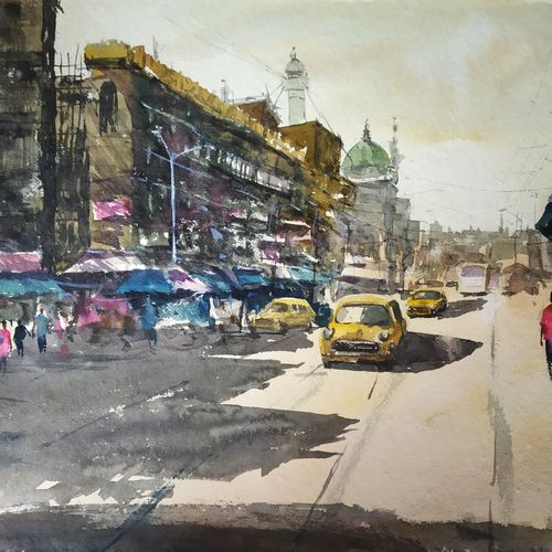 city, 22 x 13 inch, soyli saha,22x13inch,handmade paper,paintings,cityscape paintings,photorealism paintings,realism paintings,paintings for dining room,paintings for living room,paintings for bedroom,paintings for office,paintings for bathroom,paintings for kids room,paintings for hotel,paintings for kitchen,paintings for school,paintings for hospital,watercolor,GAL0606547173
