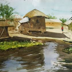 village, 22 x 13 inch, soyli saha,22x13inch,thick paper,paintings,paintings for dining room,paintings for living room,paintings for bedroom,paintings for office,paintings for bathroom,paintings for kids room,paintings for hotel,paintings for kitchen,paintings for school,paintings for hospital,watercolor,GAL0606547175