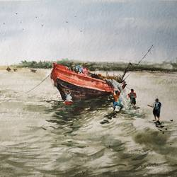 boat, 22 x 13 inch, soyli saha,22x13inch,handmade paper,paintings,nature paintings | scenery paintings,photorealism paintings,realism paintings,paintings for dining room,paintings for living room,paintings for bedroom,paintings for office,paintings for bathroom,paintings for kids room,paintings for hotel,paintings for kitchen,paintings for school,paintings for hospital,watercolor,GAL0606547177