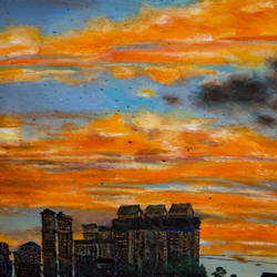 mumbai evening sky, 14 x 11 inch, rutwij vaidya,14x11inch,thick paper,paintings,abstract paintings,cityscape paintings,modern art paintings,conceptual paintings,illustration paintings,contemporary paintings,realistic paintings,paintings for dining room,paintings for living room,paintings for bedroom,paintings for office,paintings for hotel,paintings for hospital,acrylic color,pastel color,GAL03403347187