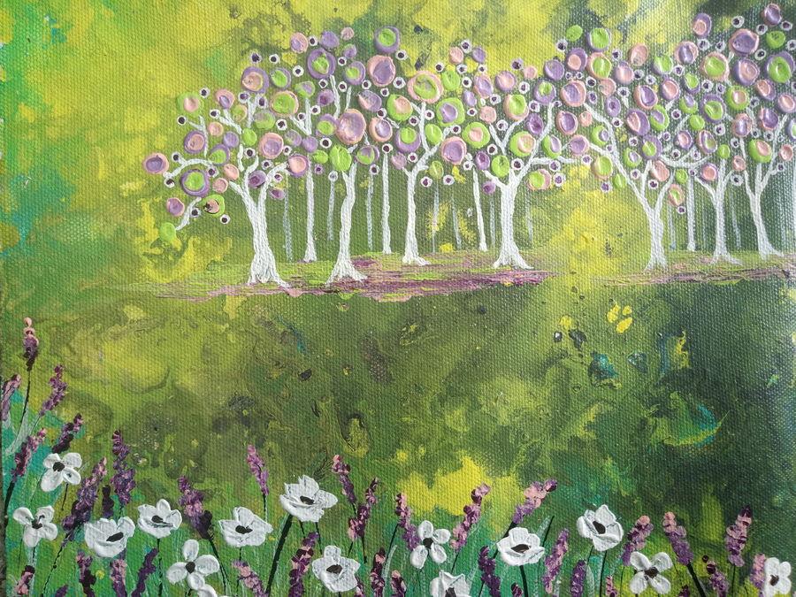 eden garden, 10 x 8 inch, esther sandhya a,contemporary paintings,paintings for living room,landscape paintings,nature paintings,canvas,acrylic color,10x8inch,GAL016634719Nature,environment,Beauty,scenery,greenery