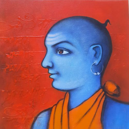 hindu pandit, 12 x 12 inch, swastik jawalekar,12x12inch,canvas,paintings,figurative paintings,religious paintings,portrait paintings,lord shiva paintings,paintings for living room,paintings for office,paintings for kids room,acrylic color,GAL02600147194