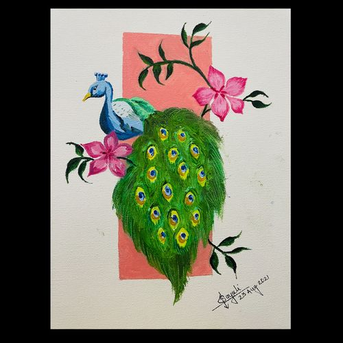 peacock, 10 x 12 inch, sayali zirpe,10x12inch,canvas,nature paintings | scenery paintings,paintings for living room,paintings for bedroom,paintings for office,paintings for hotel,paintings for hospital,paintings for living room,paintings for bedroom,paintings for office,paintings for hotel,paintings for hospital,oil color,paper,GAL03409047207