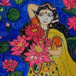 mural painting lady, 12 x 17 inch, sreelakshmi ps,12x17inch,ivory sheet,paintings,figurative paintings,flower paintings,folk art paintings,religious paintings,nature paintings   scenery paintings,art deco paintings,radha krishna paintings,miniature painting.,kerala murals painting,paintings for dining room,paintings for living room,paintings for bedroom,paintings for office,paintings for bathroom,paintings for kids room,paintings for hotel,paintings for kitchen,paintings for school,paintings for hospital,acrylic color,paper,GAL03410947210