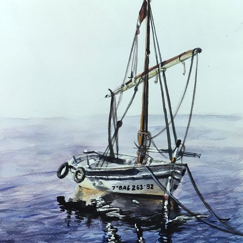 sailing ship, 12 x 16 inch, chandrakesh  singh,12x16inch,brustro watercolor paper,paintings,landscape paintings,nature paintings | scenery paintings,art deco paintings,illustration paintings,photorealism paintings,photorealism,paintings for dining room,paintings for living room,paintings for bedroom,paintings for office,paintings for bathroom,paintings for kids room,paintings for hotel,paintings for kitchen,paintings for school,paintings for hospital,watercolor,GAL0705647213
