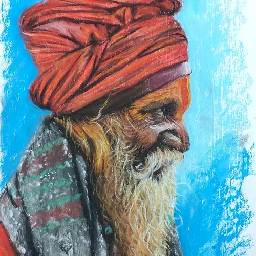 sadhu portrait, 12 x 16 inch, chandrakesh  singh,12x16inch,thick paper,paintings,figurative paintings,modern art paintings,religious paintings,portrait paintings,dada paintings,photorealism paintings,photorealism,portraiture,realistic paintings,paintings for dining room,paintings for living room,paintings for bedroom,paintings for office,paintings for bathroom,paintings for hotel,paintings for kitchen,paintings for school,paintings for hospital,pastel color,GAL0705647219