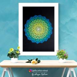 the emerald - green turquoise theme mandala, 8 x 12 inch, shreya lohani,8x12inch,thick paper,paintings,multi piece paintings,art deco paintings,minimalist paintings,paintings for dining room,paintings for living room,paintings for bedroom,paintings for office,paintings for kids room,paintings for hotel,ink color,pen color,GAL03411247226