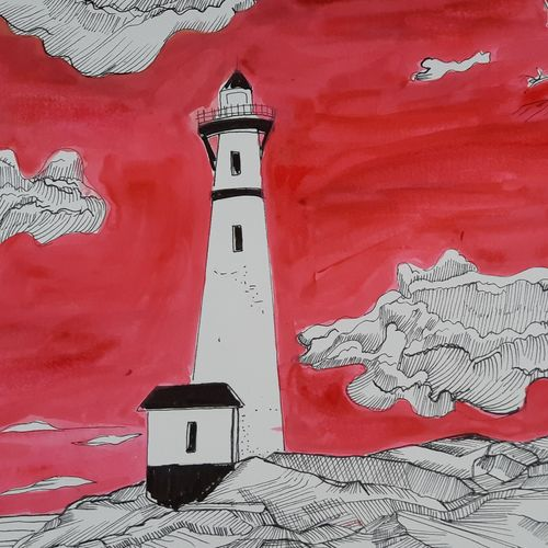 light house, 16 x 12 inch, nandita basu,16x12inch,fabriano sheet,drawings,illustration drawings,paintings for dining room,paintings for living room,paintings for bedroom,paintings for office,paintings for hotel,paintings for school,pen color,watercolor,GAL01781147231