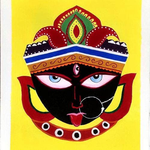 goddess kali , 14 x 18 inch, sushmita  das,14x18inch,canvas,paintings,religious paintings,paintings for living room,acrylic color,GAL03080947232