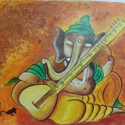 ganesha with veena, 6 x 4 inch, rupali pattnaik,6x4inch,thick paper,religious paintings,acrylic color,GAL03411847235