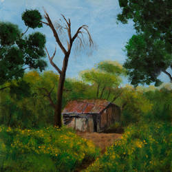the hut on the hill, 11 x 14 inch, rutwij vaidya,11x14inch,ivory sheet,paintings,flower paintings,cityscape paintings,landscape paintings,still life paintings,nature paintings | scenery paintings,realism paintings,realistic paintings,paintings for dining room,paintings for living room,paintings for bedroom,paintings for office,paintings for bathroom,paintings for kids room,paintings for hotel,paintings for kitchen,paintings for school,paintings for hospital,acrylic color,GAL03403347257