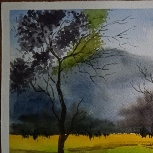 at the break of dawn, 15 x 11 inch, paromita roychoudhury,15x11inch,handmade paper,paintings,landscape paintings,paintings for living room,paintings for bedroom,paintings for office,paintings for hotel,paintings for hospital,watercolor,paper,GAL03380347266