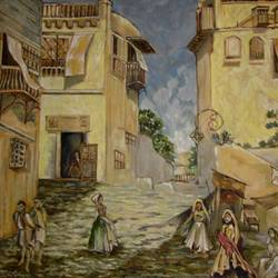 street, 39 x 28 inch, sapan lahiri,cityscape paintings,paintings for living room,canvas,oil,39x28inch,GAL016684727
