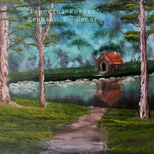 peaceful forest, 24 x 18 inch, eeshaan sonar,24x18inch,canvas,paintings,landscape paintings,nature paintings   scenery paintings,paintings for living room,paintings for bedroom,paintings for office,paintings for hotel,paintings for school,oil color,GAL02722847335