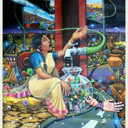 future drop, 30 x 36 inch, ramachandra l,30x36inch,canvas,paintings,figurative paintings,conceptual paintings,realism paintings,paintings for dining room,acrylic color,GAL03421247351